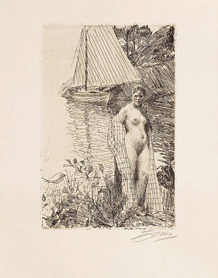Drawing - My Model And My Boat by Anders Zorn