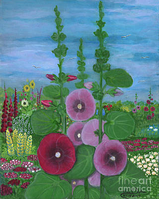My Mother's Garden Hollyhocks Art Print