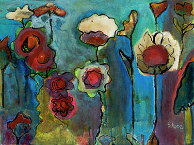 Flower Abstract Drawing - My Mother's Garden by Susan Stone