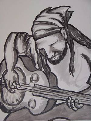Bass Player Drawing - My Musician by Sara Ricer