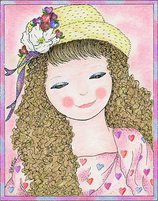 Little Girl Mixed Media - My New Hat by K S Rankin