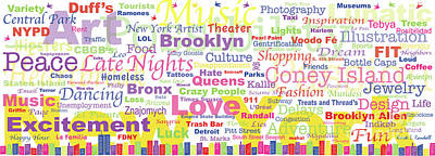 Digital Art - My New York In Words by Kristi L Randall