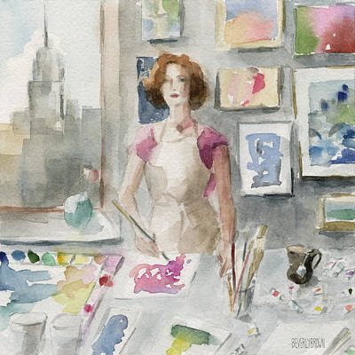 Watercolor Portraits Painting - My New York Studio by Beverly Brown
