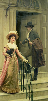 Victorian Town Painting - My Next Door Neighbor by Edmund Blair Leighton