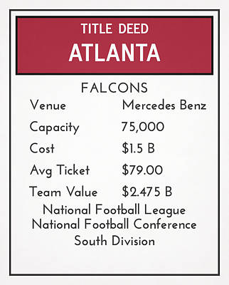 Mixed Media - My Nfl Atlanta Falcons Monopoly Card by Joe Hamilton