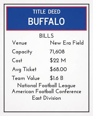 Buffalo Bills Wall Art - Mixed Media - My Nfl Buffalo Bills Monopoly Card by Joe Hamilton