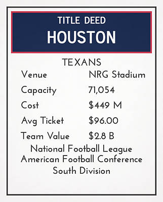 Mixed Media - My Nfl Houston Texans Monopoly Card by Joe Hamilton
