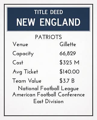 England Mixed Media - My Nfl New England Patriots Monopoly Cards by Joe Hamilton