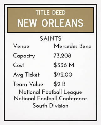 Mixed Media - My Nfl New Orleans Saints Monopoly Card by Joe Hamilton