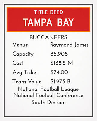 Mixed Media - My Nfl Tampa Bay Buccaneers Monopoly Card by Joe Hamilton