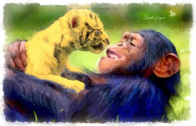 Chimpanzee Digital Art - My Nice Pets - Da by Leonardo Digenio