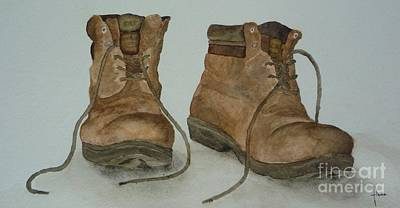 Painting - My Old Hiking Boots by Annemeet Hasidi- van der Leij