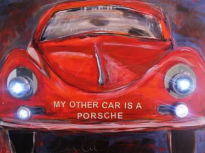 Painting - My Other Car Is A Porsche Lights On by Lucy Matta - lulu