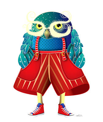 My Owl Red Pants Print by Isabel Salvador