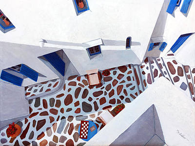 Island Painting - My Patio View, Mykonos by Mary Grden's Baywood Gallery