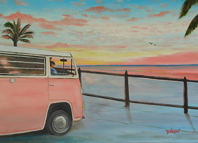 Painting - My Pink Vw Van At Sunset by Lloyd Dobson