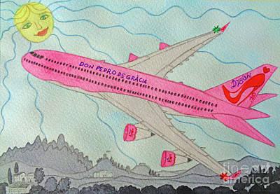 Passenger Plane Painting - My Pinups Airplane by Don Pedro De Gracia