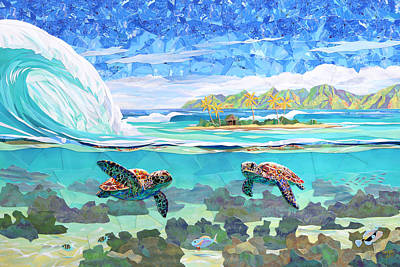 Sea Turtles Mixed Media - My Place by Patrick Parker