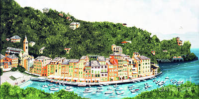 Portofino Beach Painting - My Portofino Prints Made From My Oil Paintings by Mary Grden Fine Art Oil Painter Baywood Gallery