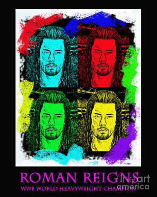 Championship Drawing - My Prediction For The World Heavyweight Championship Winner Of Wrestlemania 2015 Roman Reigns by Jim Fitzpatrick