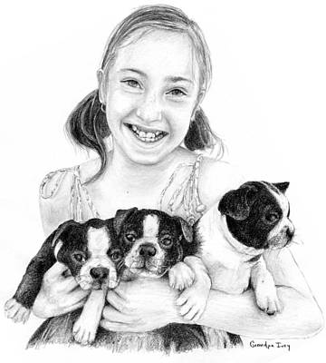 Drawing - My Puppies by Mike Ivey