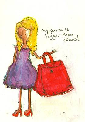 Little Girls98 Drawing - My Purse Is Bigger Than Yours by Ricky Sencion