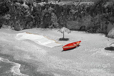 My Red Fishing Boat Art Print by Adriana Zoon