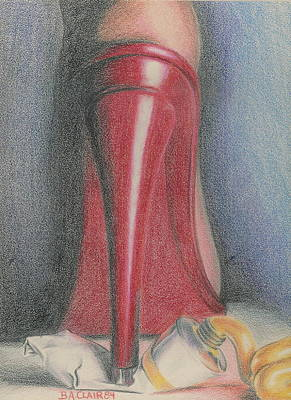Drawing - My Red High Heel by Barbara Keith