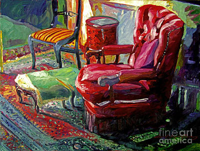 Interior Still Life Painting - My Red Reading Chair by David Lloyd Glover