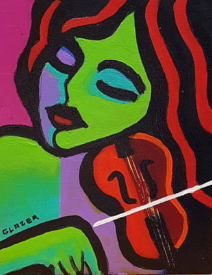 Wall Art - Painting - My Red Violin by Stuart Glazer