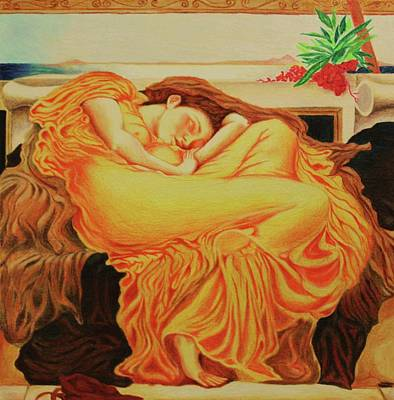 Painting - My Rendering Of Flaming June by Angel Reyes