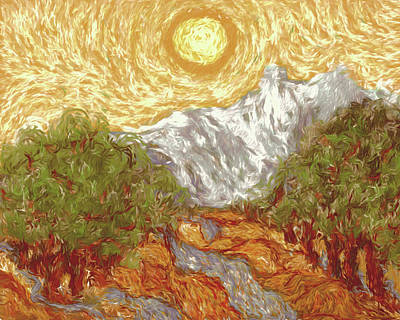 Burnt Digital Art - My Rendition Of Van Gogh's 'yellow Sky And Olive Trees' by Marci Potts
