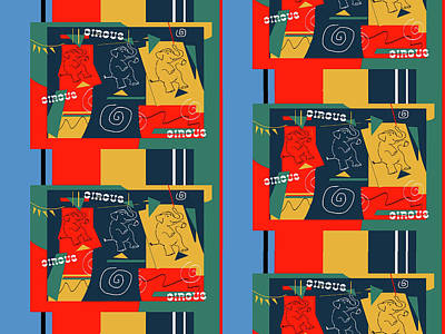 Digital Art - My Retro Circus Buddies by Janis Kirstein