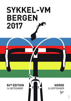 Digital Art - My Road World Championships Minimal Poster 2017 by Chungkong Art