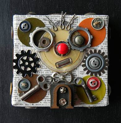 Mixed Media - My Robot Wears Glasses by Jen Hardwick