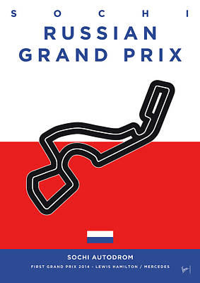 Edition Digital Art - My Russian Grand Prix Minimal Poster by Chungkong Art