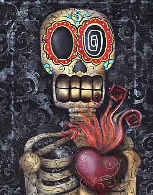 Skeleton Painting - My Sacred Heart by  Abril Andrade Griffith