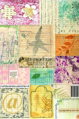 My Secret - Paper Collage Art Print by Sandra Foster