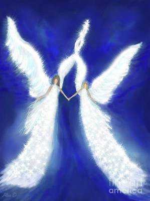 Painting - My Shining Angels From Above by Leslie Allen