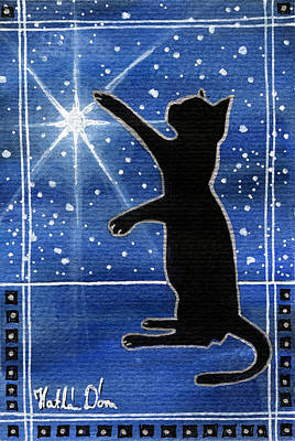 Painting - My Shinning Star - Christmas Cat by Dora Hathazi Mendes
