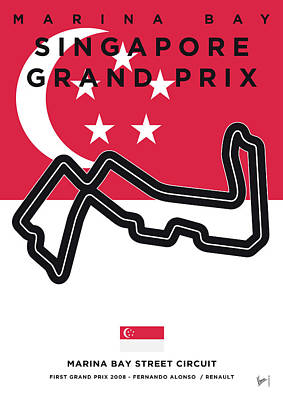 Track Team Digital Art - My Singapore Grand Prix Minimal Poster by Chungkong Art