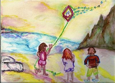 Art Print featuring the painting My Sister My Brother My Kite by Helena Bebirian