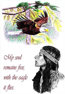 Drawing - My Soul Remains Free by Toon De Zwart