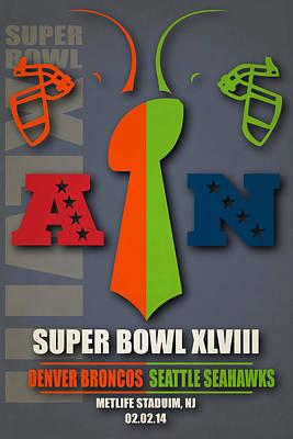 My Super Bowl 48 Broncos Seahawks Art Print by Joe Hamilton