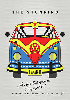 Power Digital Art - My Superhero-vw-t1-supermanmy Superhero-vw-t1-wonder Woman by Chungkong Art