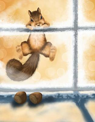 Squirrel Wall Art - Painting - My Sweet Gift by Veronica Minozzi