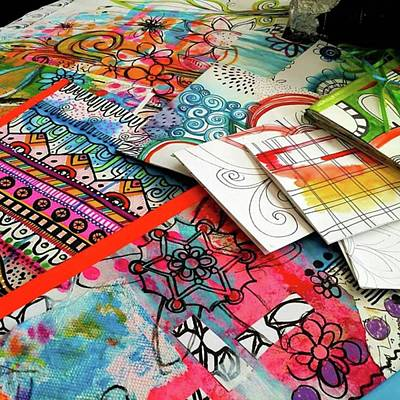 Photograph - My Table When Im Making Journals...this by Robin Mead