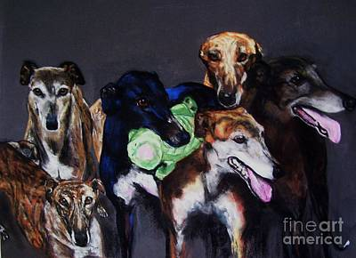 Greyhound Painting - My Teachers by Frances Marino