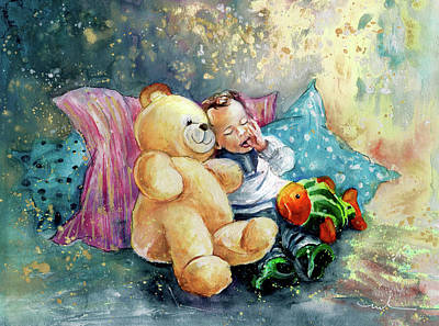 Boy With Teddy Painting - My Teddy And Me 05 by Miki De Goodaboom