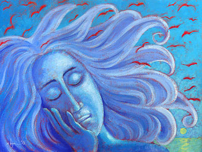 Painting - My Thoughts Fly Far Beyond Me by Angela Treat Lyon